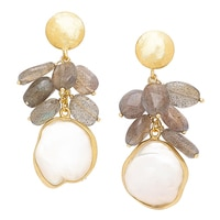 Piara Sterling Silver 18K Yellow Gold Plated Labradorite & Pearl Earrings