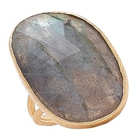 Piara Sterling Silver 18K Yellow Gold Plated Labradorite Ring