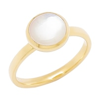Piara Sterling Silver 18K Yellow Gold Plate Mother of Pearl Ring