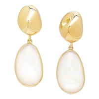 Piara Sterling Silver 18K Yellow Gold Plate Mother of Pearl Earrings