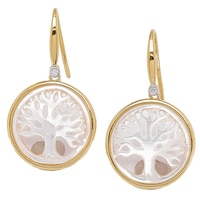 Piara Collection Sterling Silver Yellow Gold Plate 2-Toned Tree of Life Earrings