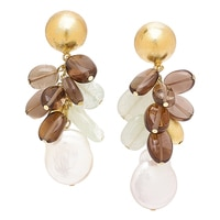 Piara Brass 18K Yellow Gold Plate Smokey Quartz, Aventurine & Pearl Earrings