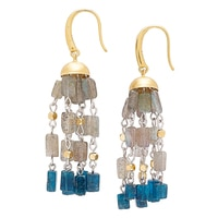Piara Brass 18K Yellow Gold Plated & Sterling Silver Labradorite & Apatite Tassel Earrings