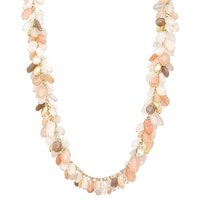 Piara Collection Brass 18K Yellow Gold Plate Multi-Colour Moonstone Necklace