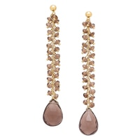 Piara Collection Brass 18K Yellow Gold Plate Smoky Quartz Earrings
