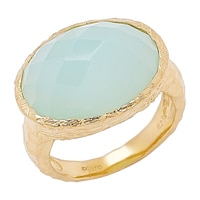 Piara Sterling Silver 18K Yellow Gold Plated Aqua Chalcedony Ring