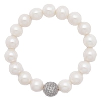 Pearl Lustre Sterling Silver Freshwater Pearl Stretch Bracelet