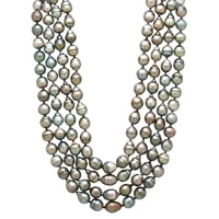 Pearl Lustre Sterling Silver 4-Strand Black South Sea Pearl Necklace