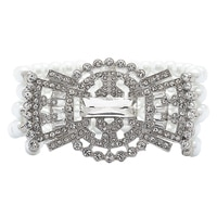 Ali-Khan Retro Pearl & Crystal Stretch Bracelet