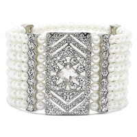 Ali-Khan Occasional Pearl & Crystal Stretch Bracelet
