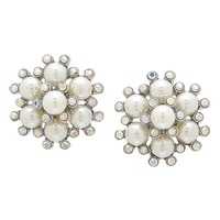 Ali-Khan Pearl Rosette Clip Earrings