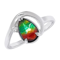 Ammolite Gems Sterling Silver Faceted Teardrop Ammolite & White Sapphire Ring