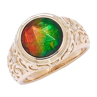 Ammolite Gems 14K Yellow Gold Ammolite & Diamond Accent Ring