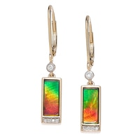 Ammolite Gems 14K Yellow Gold Ammolite & Diamond Accent Drop Earrings
