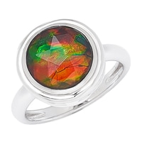 Ammolite Gems Sterling Silver 10mm Faceted Ammolite Ring