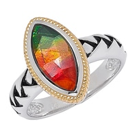Ammolite Gems Sterling Silver Marquise Shape Ammolite Ring