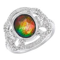 Ammolite Gems Sterling Silver Oval Ammolite Ring