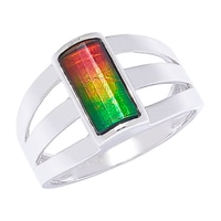 Ammolite Gems Sterling Silver Faceted Ammolite Rectangular Ring