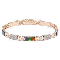 Ammolite Gems 14K Yellow Gold Ammolite Station & Diamond Accent Bracelet
