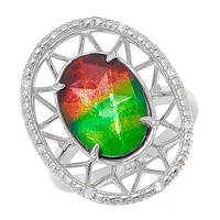 Ammolite Gems Sterling Silver 14 x 10mm Faceted Ammolite & White Sapphire Ring