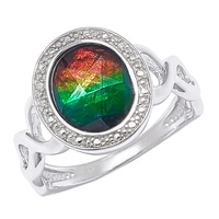 Ammolite Gems Sterling Silver 10x8mm Oval Faceted Ammolite Ring