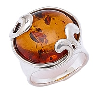 Hagit Designs Sterling Silver Amber Ring