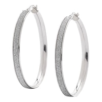 Jewels of Italy Sterling Silver Textured Round Hoop Earrings