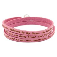 "Jewels of Italy Amen ""Our Father"" Leather Wrap Bracelet"