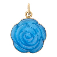 Alchemía by Charles Albert Blue Shimmer Rose Pendant