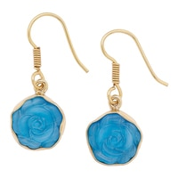 Alchemía by Charles Albert Blue Shimmer Rose Earrings