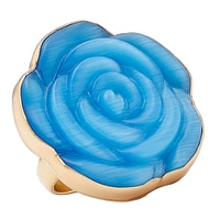 Alchemía by Charles Albert Blue Shimmer Rose Adjustable Ring
