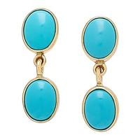 Alchemía by Charles Albert Blue Turquoise Post Drop Earrings