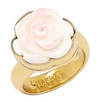 Bague réglable agrémentée d'une rose en nacre rose de Alchemía by Charles Albert