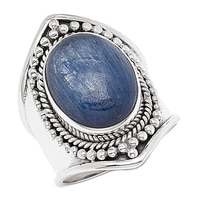 Himalayan Gems Sterling Silver Kyanite Saddle Ring