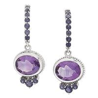 Himalayan Gems Sterling Silver Amethyst & Iolite Drop Earrings