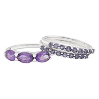 Himalayan Gems Sterling Silver Amethyst & Iolite Stackable Rings