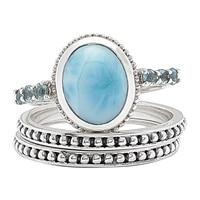Bagues emboîtables parées de larimar et de topazes bleues sur argent sterling de Himalayan Gems