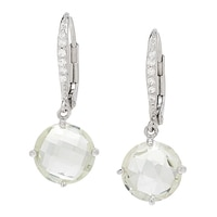 Sigal Style Sterling Silver Rhodium Plate Leverback Earrings
