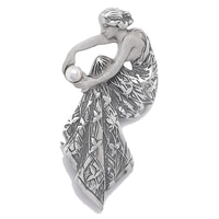 Timeless Classics Sterling Silver Created Pearl Frosted Look Woman Brooch