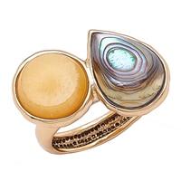 Bague parée de quartz et de coquille d'ormeau Maisie de Studio Barse