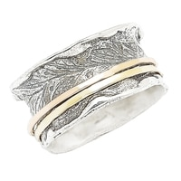 Designs from Nazareth Sterling Silver 14K Yellow Gold Spinner Band