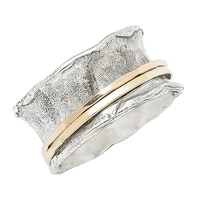 Designs from Nazareth Sterling Silver 14K Yellow Gold Simple Spinner Band