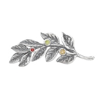 Designs from Nazareth Sterling Silver Oxidized Finish Multi Gemstone Branch Brooch