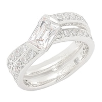 TYCOON for Diamonelle Sterling Silver Bypass Ring