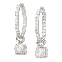 Tycoon for Diamonelle Sterling Silver Platinum Plating Interchangeable Earrings