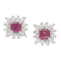 Sigal Style Sterling Silver Rhodium Plated Rhodolite Garnet & White Topaz Stud Earrings