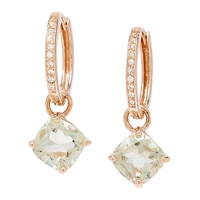 Sigal Style Sterling Silver Rose Gold Plate Green Amethyst & White Topaz Earrings
