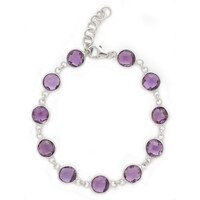Sigal Style Sterling Silver Rhodium Plated Gemstone Bracelet