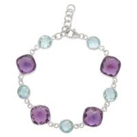 Bracelet orné d'améthystes mauves et de topazes bleues sur argent sterling rhodié de Sigal Style