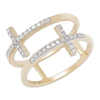 10K Yellow Gold Diamond Floating Cross Ring